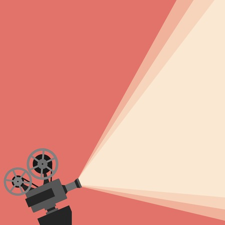 Illustration for Movie projector vector illustration. Movie projector vector concept. Movie projector background cinema illustration.  Movie projector vintage poster. Vector movie projector background for your design. - Royalty Free Image