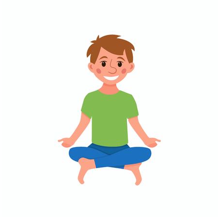 Vector Of Yoga Kids Poses Cute Cartoon Id 70793872 Royalty Free Image Stocklib