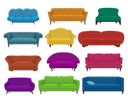 Illustration pour Sofa and couches colorful cartoon illustration - image libre de droit