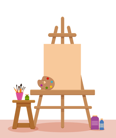 Illustration for Art studio interior colorful vector illustration. Painter artist workshop room with tools: canvas, easel, paints, palette, brushes,  pencils - Royalty Free Image