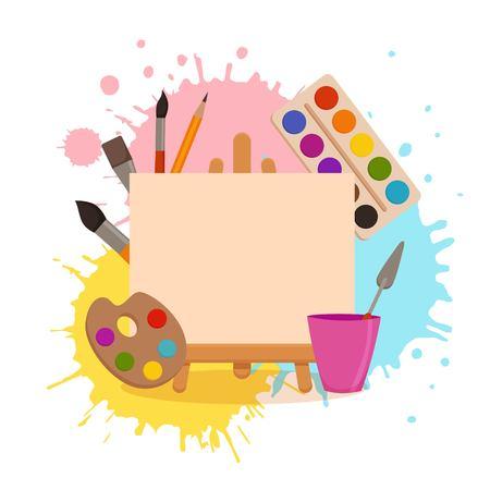 Illustration pour Painting tools elements cartoon colorful vector concept. Art supplies: easel, canvas, paint tubes, brushes, watercolor splash background. Drawing creative materials illustration for workshops designs - image libre de droit