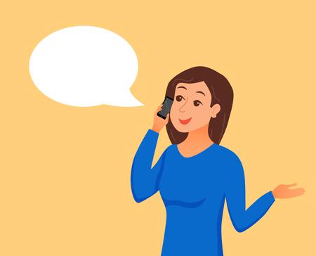 Ilustración de Girl speaking using her smartphone holding in her hand. - Imagen libre de derechos