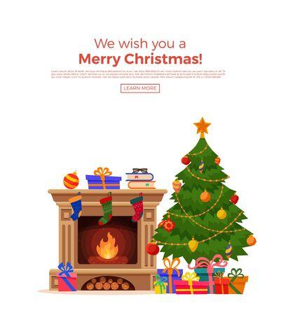 Illustration pour Christmas tree with lights and presents - image libre de droit