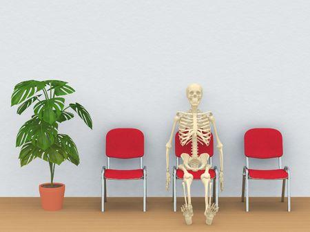 digital render of a skeleton sitting in a waiting room