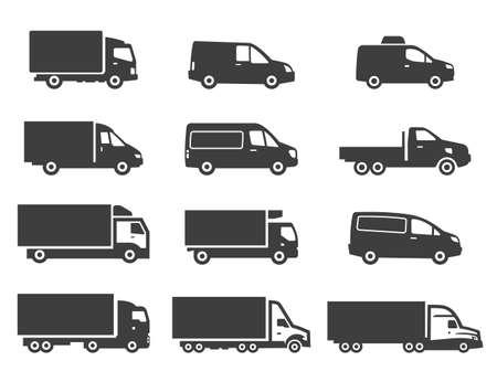 Illustration pour Set of different delivery trucks. Distribution and logistic cliparts. - image libre de droit