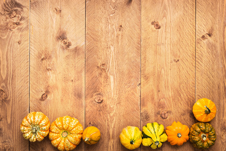Colorful Pumpkins on wooden background - Halloween, Thanksgivingの写真素材