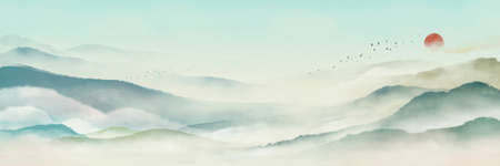 Photo for Chinese style classical traditional ink landscape painting. Watercolor landscape painting of gentle mountains - Royalty Free Image