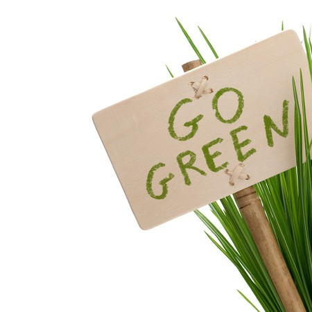 go green message on a wooden panel and green plant - image is isolated on a white background