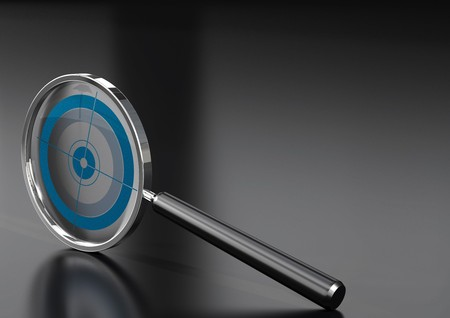 magnifying glass  with a target in it, over a black background with reflection