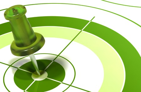 green pushpin on center of a target symbol of reaching objectives