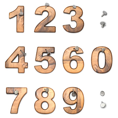 Set of numbers with dot - wooden number