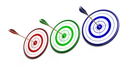 red, three green and blue targets over a white background each target reveive an arrow of the same color