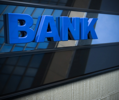 3D bank sign on a facade