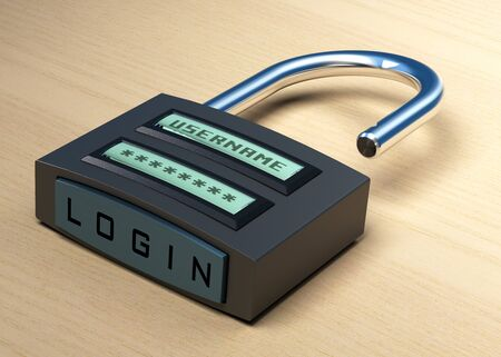 Photo pour digital padlock with a username and password plus login button over a wooden background - image libre de droit