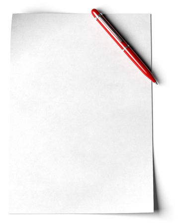 blank page with a red ball point pen in the angle of the page over white background