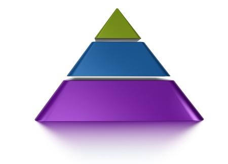 Photo pour 3D pyramid chart vue from front, 3 levels - image libre de droit