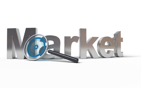 Market word with a magnifying glass at the front with a focus inside, image is over a white background