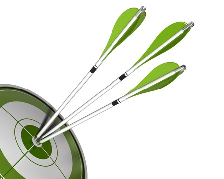 3 arrows hitting the center of a green target 3d render isolated white background, border angle of a page