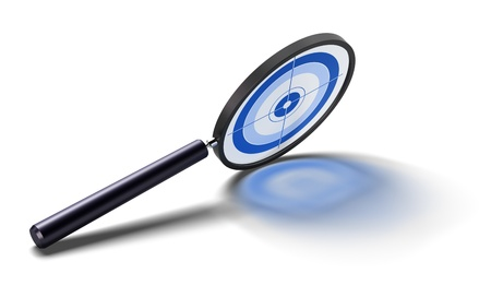 magnifying glass with a blue target inside for special analysis - image over a white background with reflections.