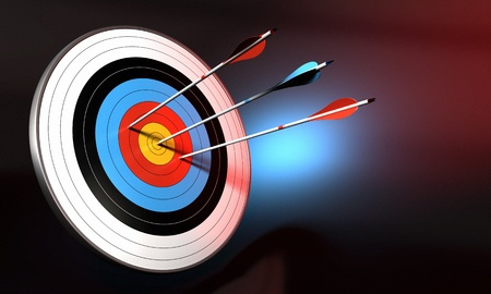 target and blue arrow hitting the center of bull