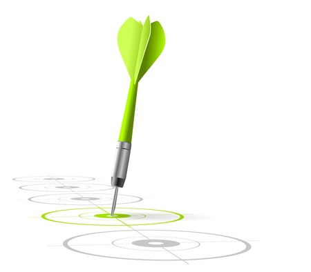marketing strategy symbol  One green dart hitting the center of a target with many grey other targets in a row  Vector file, white background