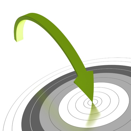 Photo pour Green arrow reaching the center of a grey target and reaching the objective, white background, angle of a page - image libre de droit