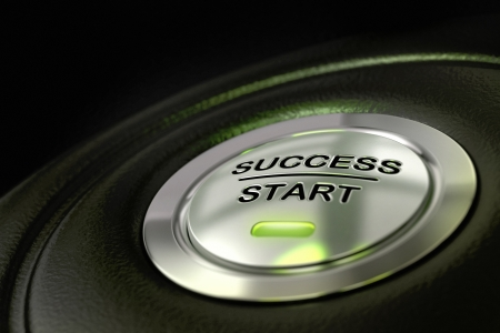 abstract success start button, metal material, green color and black textured background  Focus on the main word and blur effect  successful concept