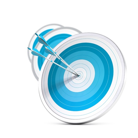 many blue targets and three arrows reaching the center of the first one, image with blur effect, square format   Strategic marketing or business competitive advantage concept