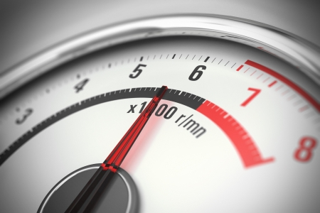 close up of a tachometer with blur effect