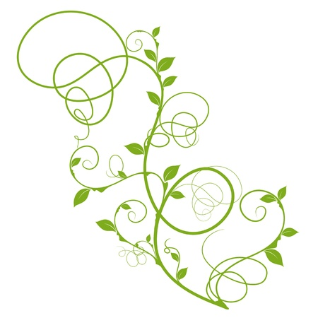 Simple Floral Design Green Silhouette For Decorative Background Over White
