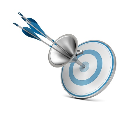 One blue target pierced by three arrows thanks to a funnel, image over white background