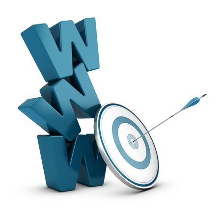 WWW 3D blue letters pile over white background with a target and one arrow hitting the center