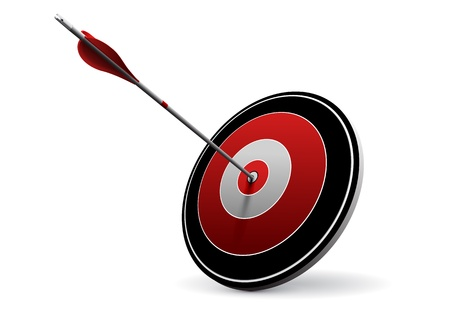 One arrow hitting the center of a red target  Vector image over white  Modern design for business or marketing purpose