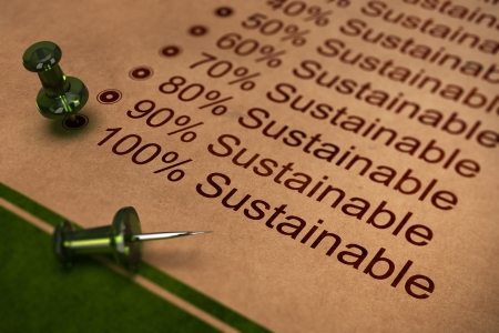 One hundred percent sustainable word, concept for improving sustainability in business