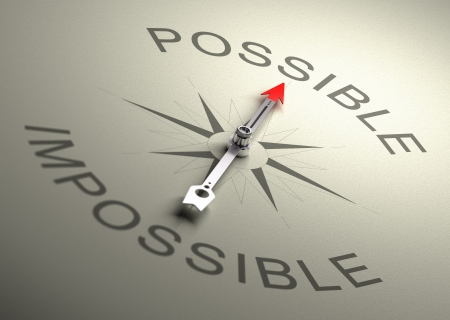 Needle of a compass pointing on the word possible, Realistic 3D render with depth of field, blurr effect on the word impossible