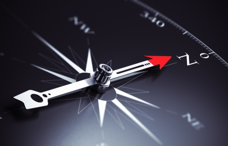 Compass needle pointing to north direction, image suitable for business consulting concept  3D render illustration