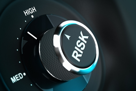 Button with the word risk pointing between medium and high level, 3D render suitable for risk management or decision-making process situation  Depth of field