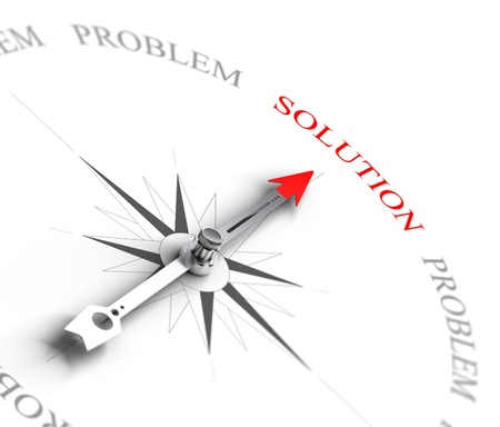 Compass with arrow pointing to the word solution vs problems  3D render image suitable for business consulting concept, 3D render with depth of field effect