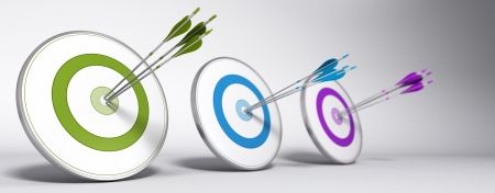 Marketing objective concept - Three targets with different colors and arrows hitting the center of each one - 3D render with depth of field effect