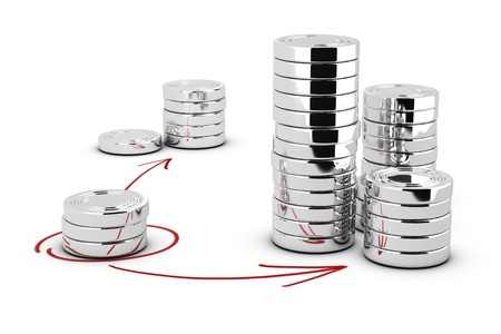 Stack of generic coins over white background with arrows pointing the highest pile  Conceptual image for money investment