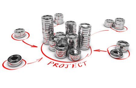 Stacks of generic coins over white background with red arrows pointing the highest pile  Conceptual 3D render for money investment or collaborative finance