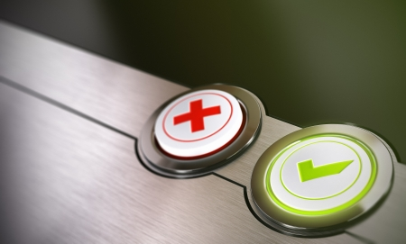 Validation buttons system with true or false options with green light and blur effect