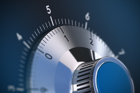 Photo pour Close up of a safe lock with blur effect and focus on the number one, blue tones  Conceptual image suitable for security and secrecy illustration  - image libre de droit