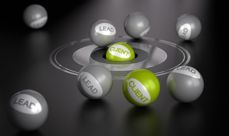 Many spheres over black with target in the center on green ball in the center  Marketing concept image, converting leads into client or customers