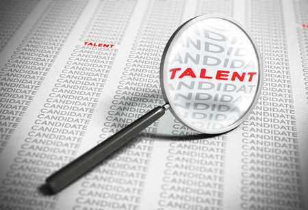 Magnifier with focus on the word talent with many words candidates around it. Blur effect concept of recruitment.