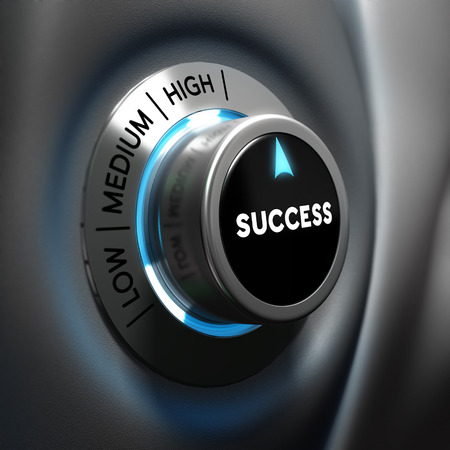 Success selector button with blue and grey tones  Conceptual 3D render image with depth of field blur effect  Concept suitable for successful business or motivation