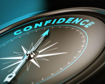 Foto de Compass with needle pointing the word confidence, self esteem concept with blue and brown tones  Focus on the top  - Imagen libre de derechos