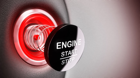 Broken engine start and stop button, blur effect and red tones  Concept illustration of car repair