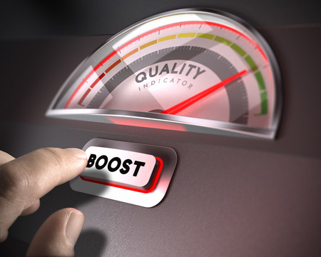 Quality indicator dial, index and boost button over a dark background. Illustration of TQM or QI concept