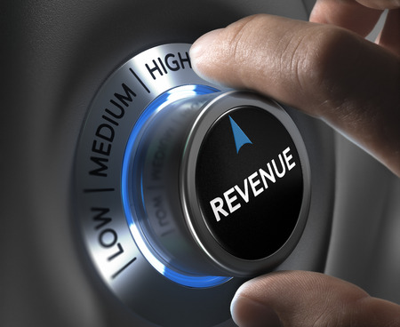 finger turning a revenue button to the highest position. Concept illustration of financial profits.